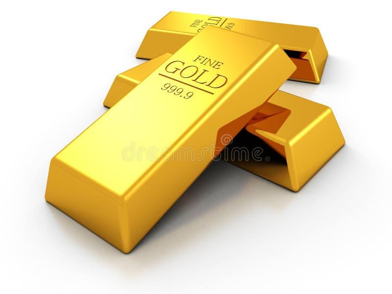 Ensemble de bars d'or fins sur le fond blanc illustration de vecteur