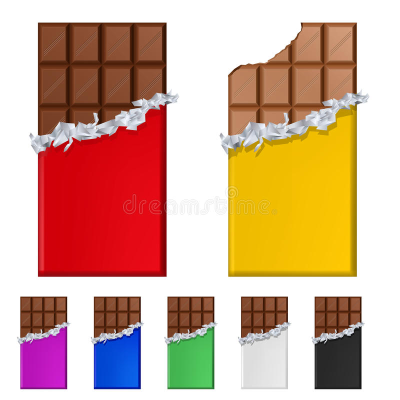 Ensemble de bars de chocolat en emballages colorés illustration de vecteur