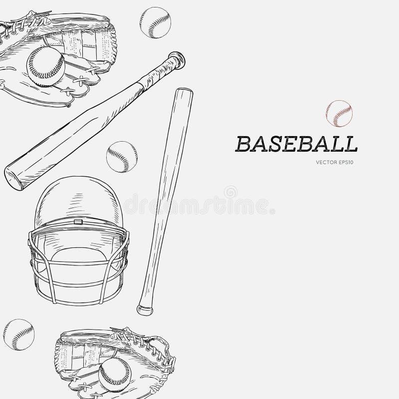 Ensemble de base-ball, vecteur de croquis d'aspiration de main illustration libre de droits