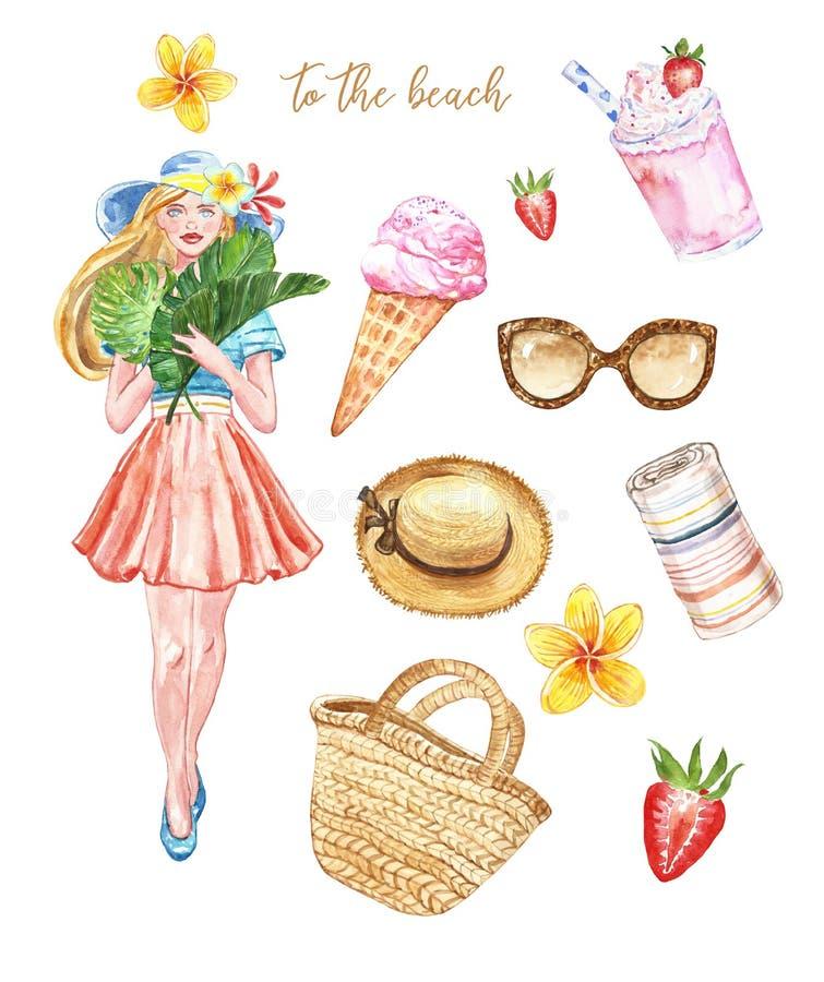 Ensemble de bases de plage d'été d'aquarelle, d'isolement Chapeau de paille, sac, lunettes de soleil, palmettes, fille mignonne d illustration de vecteur