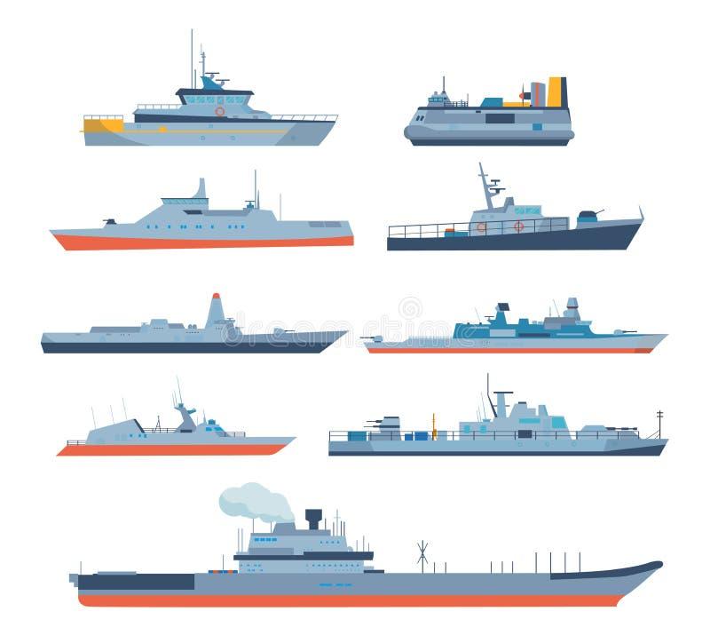 Ensemble de bateaux dans le style plat moderne : bateaux, bateaux, ferries illustration stock