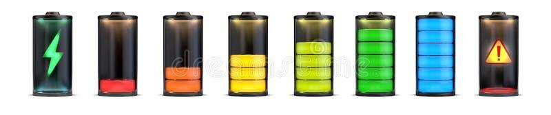 Ensemble de batterie de niveaux de charge illustration de vecteur