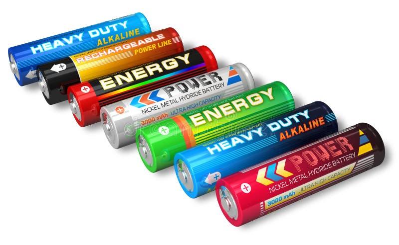 Ensemble de batteries d'aa illustration stock