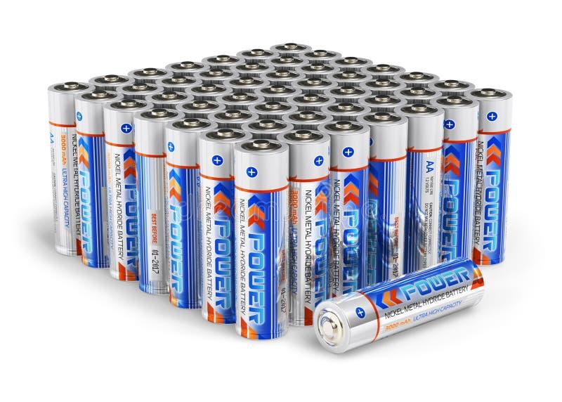 Ensemble de batteries de taille d'aa illustration libre de droits