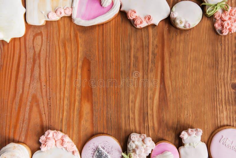 Ensemble de beau pain d'épice, vue supérieure de fond images stock