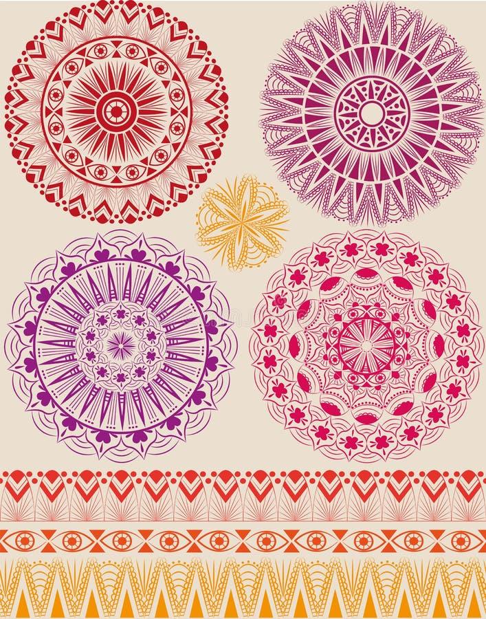 Ensemble de beaux mandalas illustration stock