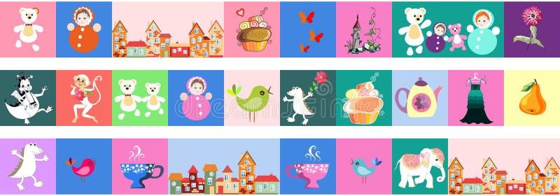 Ensemble de belle frontière de vecteur Patchwork pour des enfants Modèle lumineux avec des jouets, gâteau, château, singe, crocod illustration de vecteur