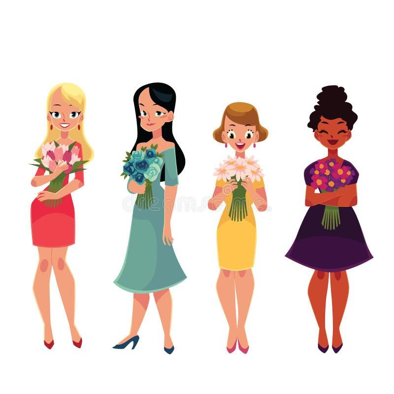 Ensemble de belles femmes, position de fille, participation liée des fleurs illustration de vecteur