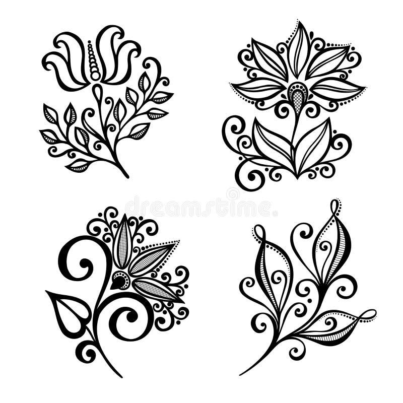 Ensemble de belles fleurs de Deco illustration stock