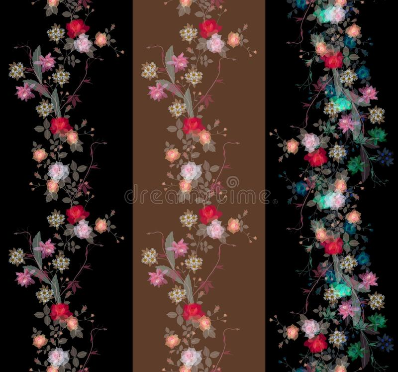 Ensemble de belles frontières florales sans fin de transparent illustration stock