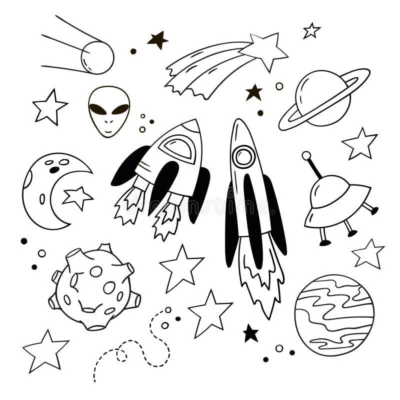 Ensemble de belles icônes de griffonnage Fusées tirées par la main, planètes et d'autres éléments cosmiques illustration libre de droits