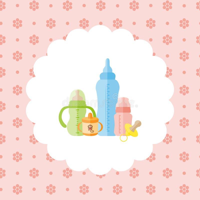 Ensemble de biberons de bébé, tétine illustration stock