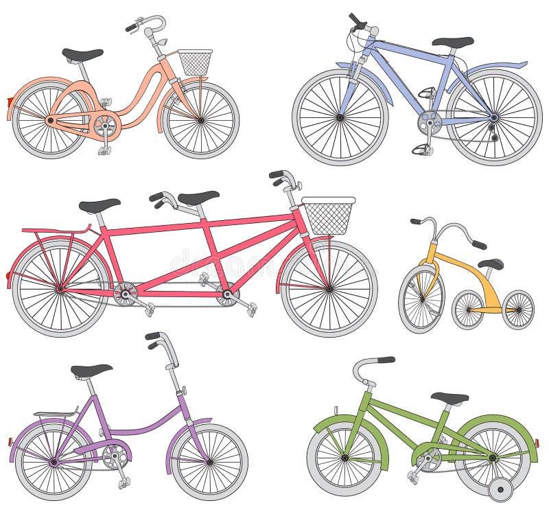 Ensemble de bicyclette illustration stock