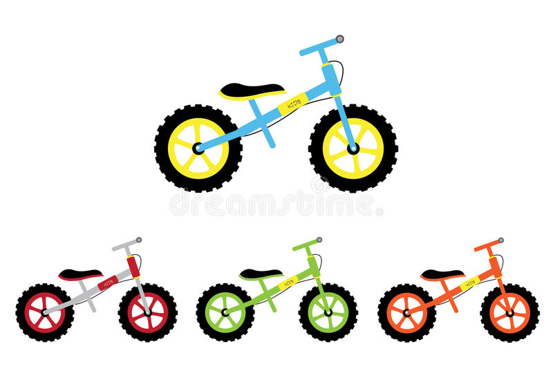 Ensemble de bicyclette d'enfant, illustrations de vecteur illustration libre de droits