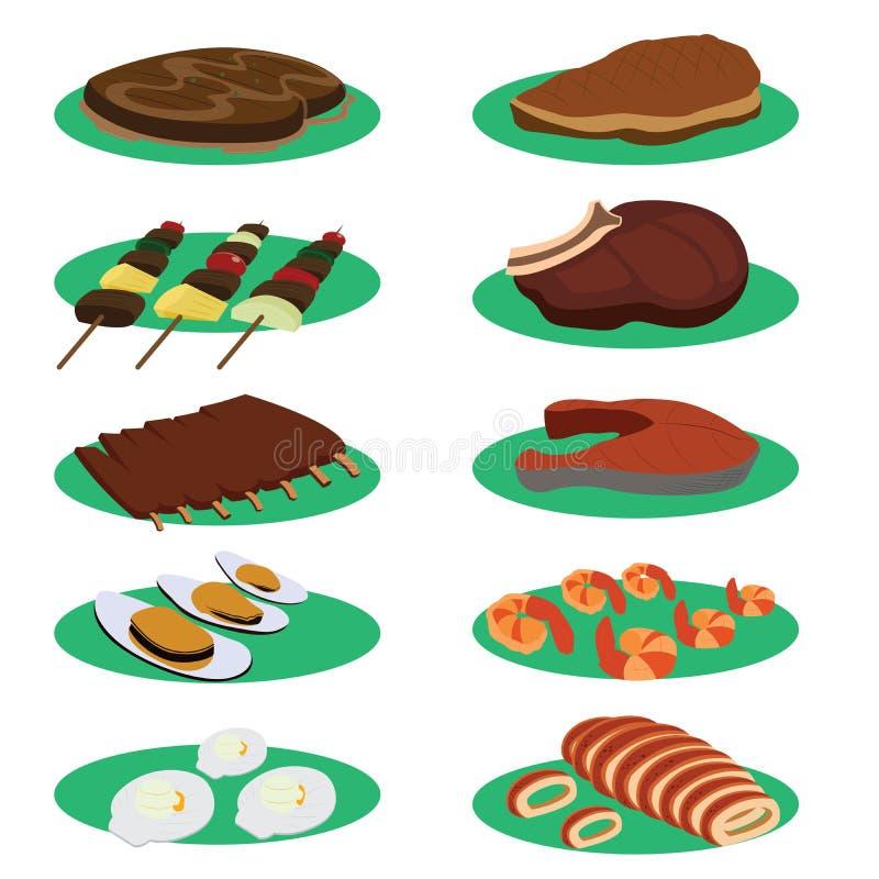 Download Ensemble De Bifteck De Gril Et De Menu De Cuisine De Barbecue Illustration de Vecteur - Illustration du délicieux, viande: 45362598