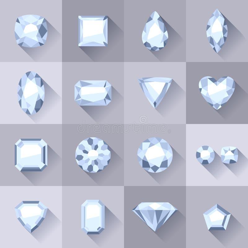 Ensemble de bijoux plats de blanc de style illustration stock