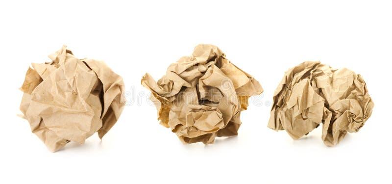 Ensemble de billes de papier chiffonnées par Brown/   photos libres de droits