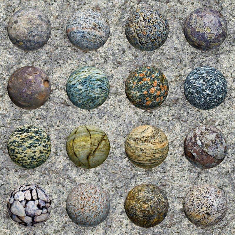 Ensemble de billes en pierre sur le granit - texture sans joint images libres de droits