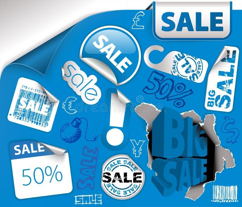 Ensemble de billets bleus d'escompte, étiquettes illustration stock