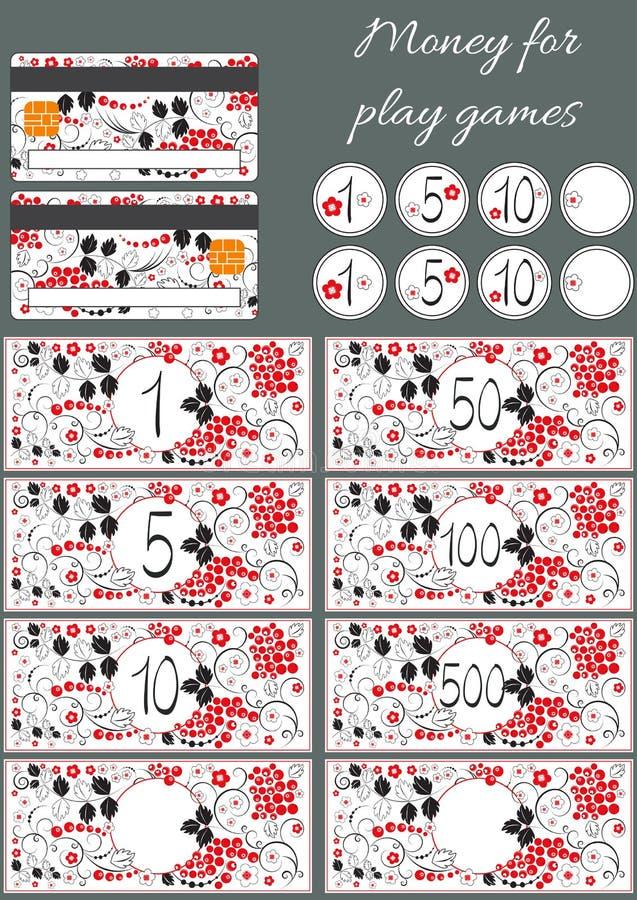 Ensemble de billets de banque fictifs de vecteur, pièces de monnaie, cartes de crédit pour des jeux de magasin de jouet Style rus illustration de vecteur