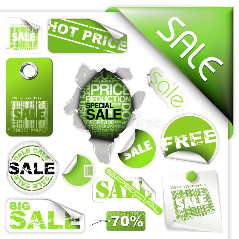 Ensemble de billets et d'étiquettes verts de vente illustration stock