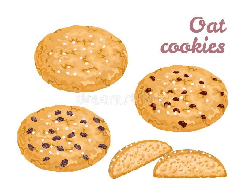 Ensemble de biscuits d'avoine Pâtisseries saines de céréale fraîche illustration stock