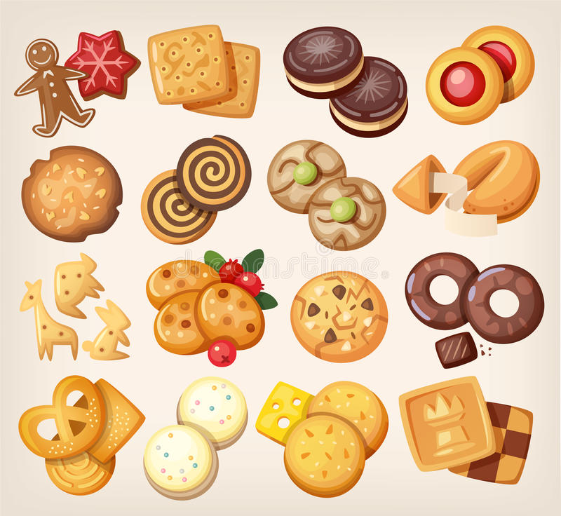 Ensemble de biscuits de vecteur illustration de vecteur
