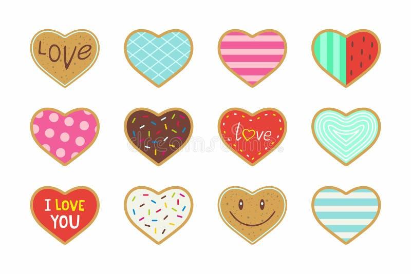 Ensemble de biscuits en forme de coeur de valentine illustration stock