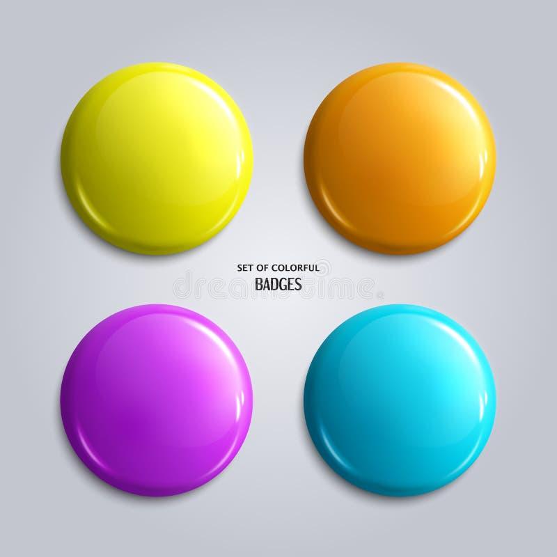 Ensemble de blanc, d'insignes brillants colorés ou de boutons de Web illustration stock