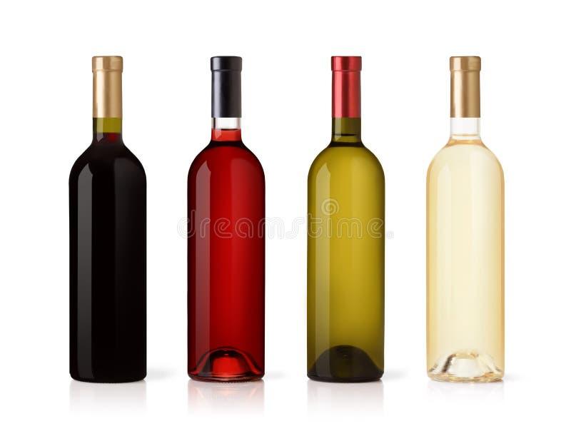 Ensemble de blanc, de rose, et de bouteilles de vin rouge. images libres de droits