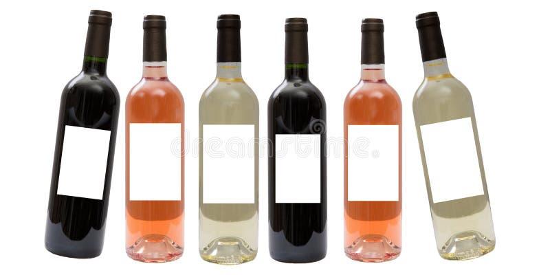 Ensemble de blanc, de rose, et de bouteilles de vin rouge image libre de droits