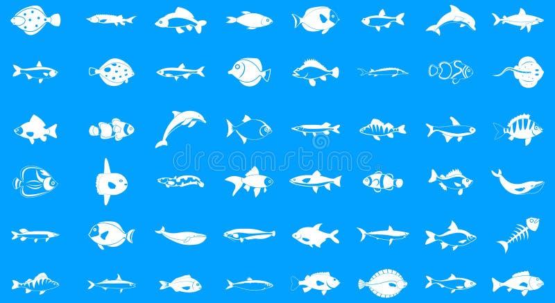 Ensemble de bleu d'icône de poissons illustration libre de droits