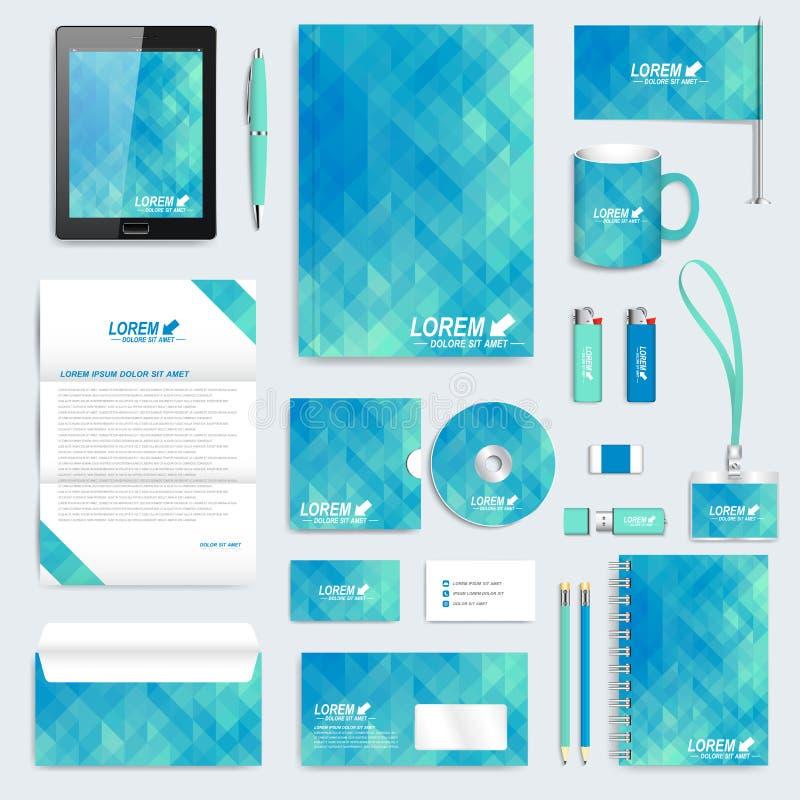 Ensemble de bleu de calibre d'identité d'entreprise de vecteur Maquette moderne de papeterie Fond avec les triangles bleu-foncé B illustration libre de droits