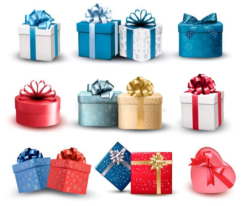 Ensemble de boîte-cadeau colorés avec des arcs et des rubans. illustration de vecteur