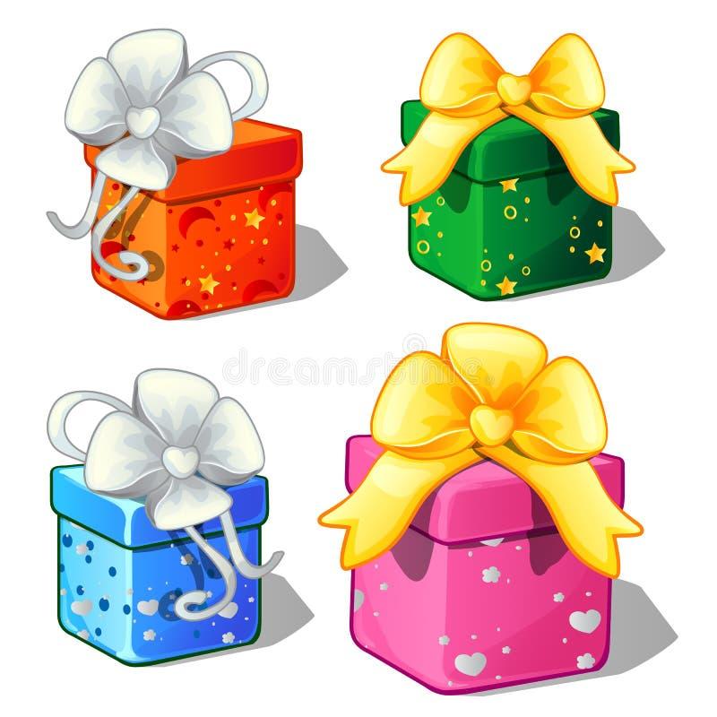 Ensemble de boîte-cadeau couleur verdissent, de bleus, rouge et rose illustration stock