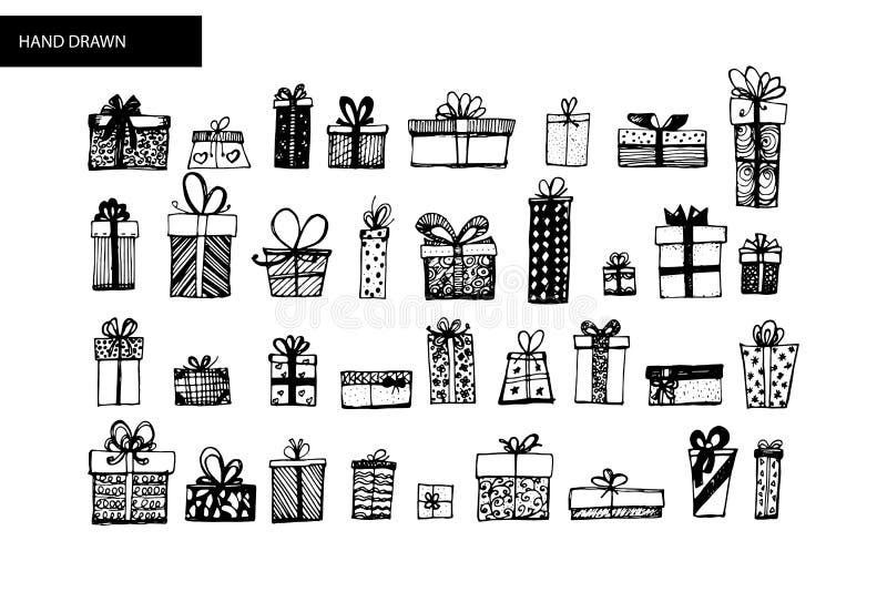 Ensemble de boîte-cadeau Croquis tiré par la main converti en vecteur illustration stock
