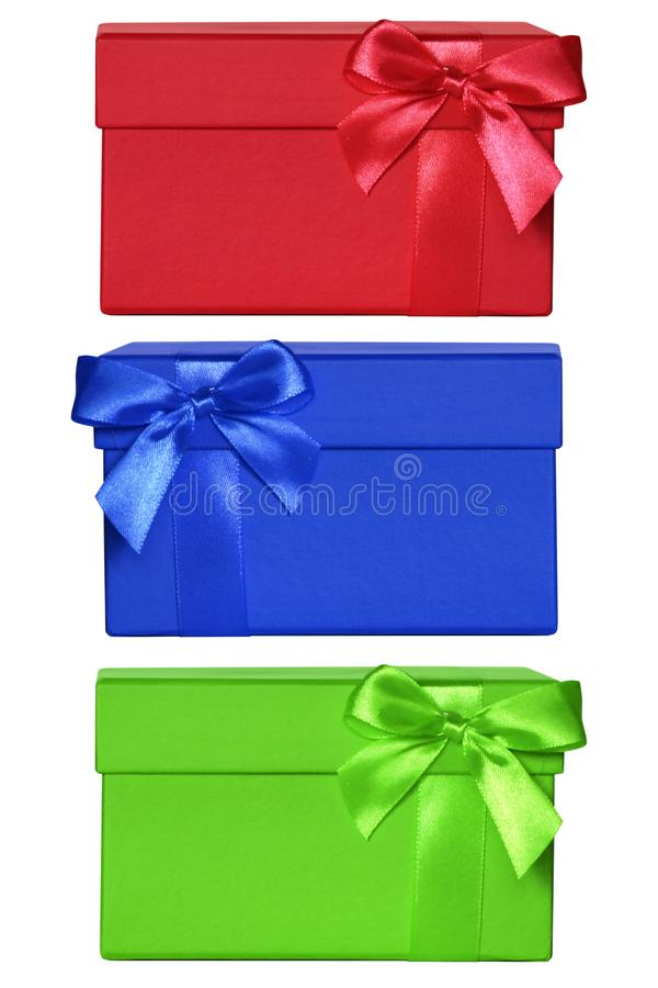 Ensemble de boîte-cadeau fermés de couleur image stock
