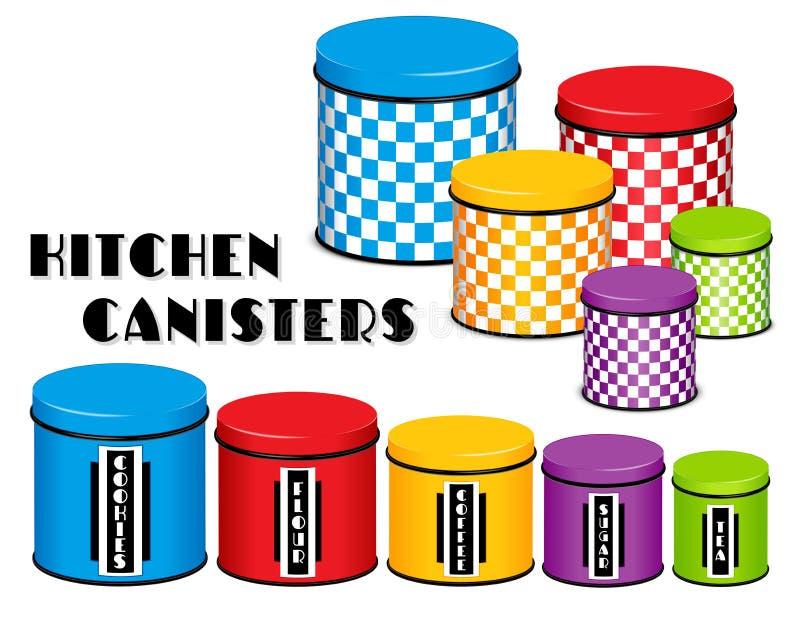 Ensemble de boîte métallique de stockage de nourriture de cuisine, conception de damier, Co multi illustration stock