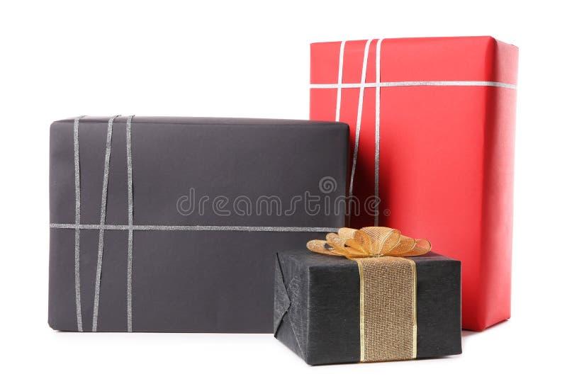 Ensemble de boîtes-cadeau d'isolement photos stock