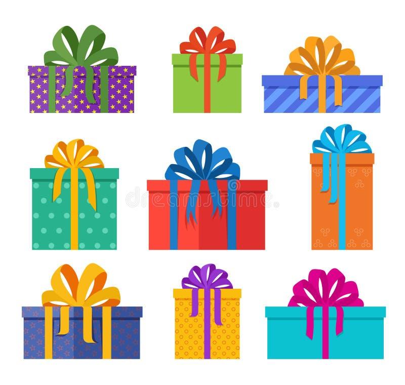 Ensemble de boîtes de cadeaux de Noël en paquets de vacances avec des bowknots colorés Cadeaux de Noël conçus dans le style plat illustration de vecteur