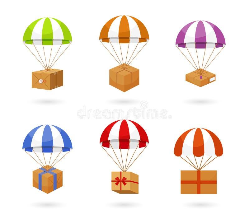 Ensemble de boîtes de transport de parachute coloré illustration libre de droits