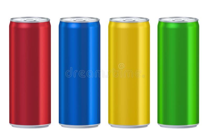 Ensemble de boîtes métalliques colorées de boissons, rendu 3D illustration de vecteur