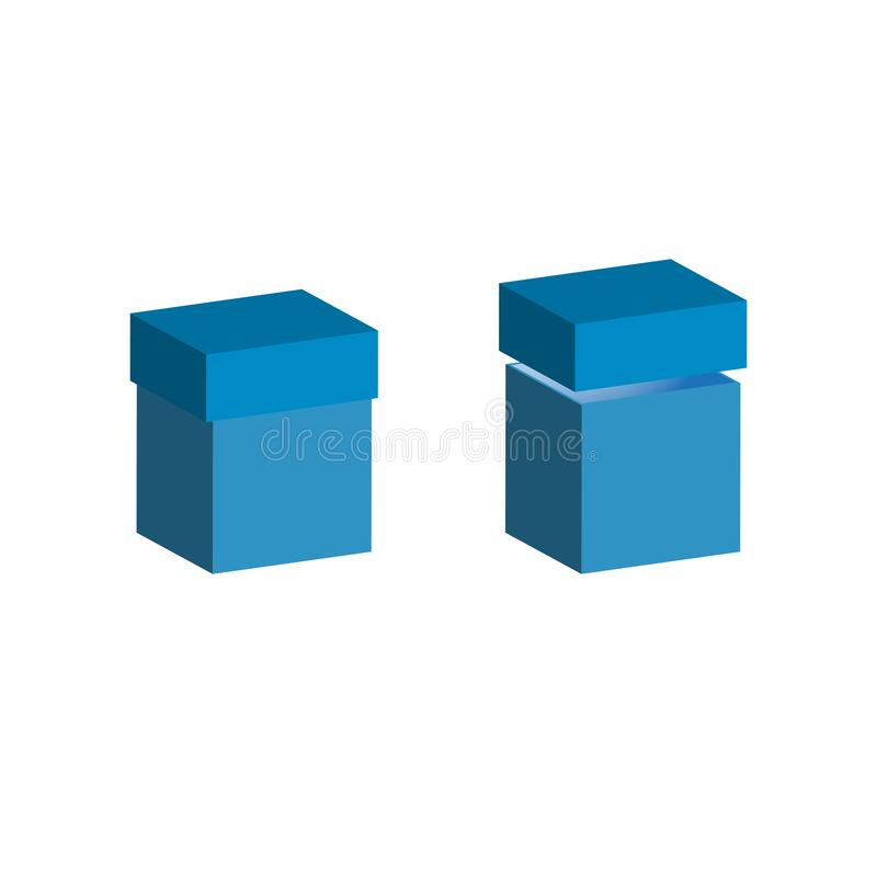 Ensemble de boîtes réalistes avec le couvercle sur le fond blanc illustration 3d pour la conception Boîte ouverte et fermée illustration de vecteur