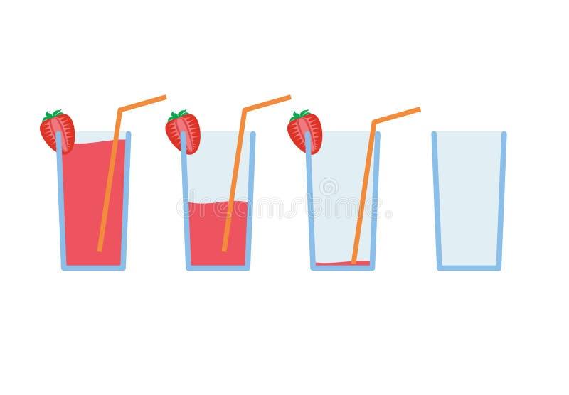 Ensemble de boisson rouge de coctail de fraise avec l'orange illustration de vecteur