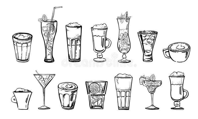 Ensemble de boissons de café et de cocktail Croquis tiré par la main de vecteur de bande dessinée d'ensemble illustration de vecteur