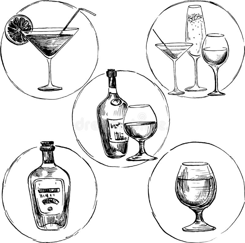 Ensemble de boissons d'alcool illustration libre de droits