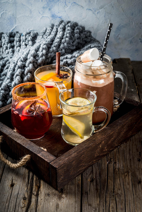 Ensemble de 4 boissons d'automne photographie stock