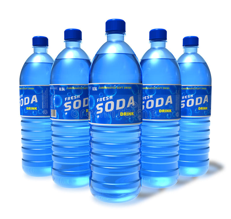 Ensemble de boissons de bicarbonate de soude dans des bouteilles en plastique illustration de vecteur