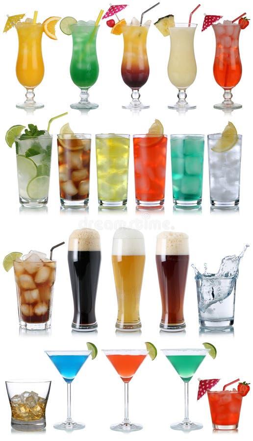 Ensemble de boissons, de cocktails, de kola, de bière, d'eau et de whiskey images stock