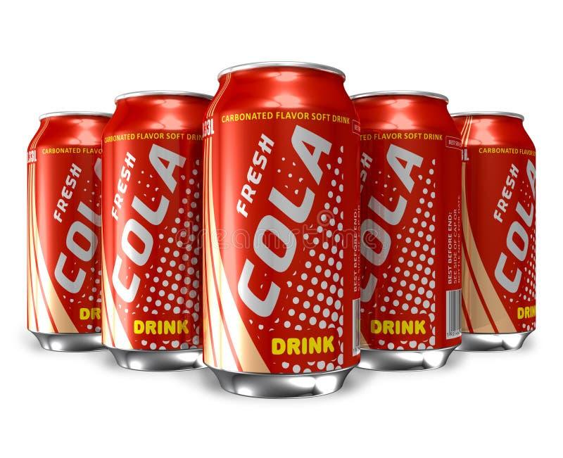 Ensemble de boissons de kola dans des bidons en métal illustration libre de droits
